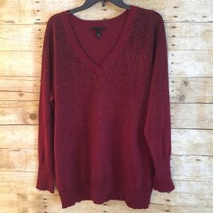 Lane Bryant Red Sparkly V-Neck Sweater 18-20